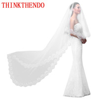 чистые белые завесы оптовых-Women Pure White Wedding Veil 3M Long Embroidered Floral Lace Scalloped Bridal Cathedral 1 Layer Party Accessories Without Comb