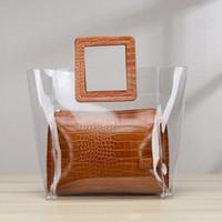 sac à main noir blanc achat en gros de-Le plus récent Mode Blanc Noir Brun Abricot Élégant PU En Cuir Synthétique Transparent Main Composite Sac Pour Femme