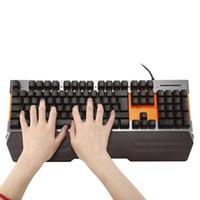 apoyos del teclado al por mayor-TOPPING Wired Membrane Keyboard Large Wrist Rest con retroiluminación LED 104 teclas USB Keyboard Air Mouse para PC Mac Window 7/10 Vista Android