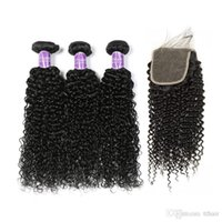 Wholesale Brazilian Curly Top Closure - Brazillian Kinky Curly Unprocessed peruvian indian Virgin Human Hair 3 Bundles With 4*4 Lace Closure Top Quality Curly Wave Hair Extension
