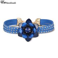 chocker de cristal colares venda por atacado-Gargantilhas declaração colar de cristal azul flor pingente de couro cadeia choker colar colares mulheres chocker moda jóias 2018