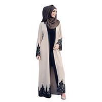 ingrosso ginocchia di abito rosso cinese-Nuovo abaya per le donne in pizzo abito musulmano manica lunga donne turche islamiche abbigliamento abito Djellaba Robe