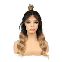 Wholesale 1b 27 wig for sale - Group buy 1b Full Lace Ombre Human Hair Wigs With Baby Hair Wavy Glueless Pre Plucked Brazilian Remy Hair Lace Front Wig
