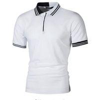 короткий рукав рубашка поло оптовых-New Men Polo Shirt Men Business Casual Pactwork Male Polo Shirt Gray White Short Sleeve Breathable Shirt Men