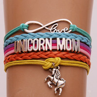 Wholesale Rainbow Cuff - Infinity Love Unicorn Mom Bracelet Silver Unicorn Heart Rainbow Braid Wrap Multilayer Bracelets Bangle Cuffs Fashion Jewelry Drop Shipping