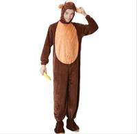trajes de macaco para adultos venda por atacado-Adulto Macaco Traje Para Os Homens Com Cauda Bonito Quente Grosso Trajes CosplayFleece Animal Roupas Disfraces Adultos Macaco onesie PS072