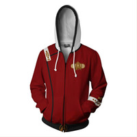 trek jacken groihandel-Star Trek 2 Der Zorn des Khan Star Trek Uniform Cosplay Kostüm Hoodie Sweatshirt Reißverschluss Jacke Mantel Anime Sweatshirts
