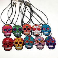 collier jour mort achat en gros de-Collier de crâne fantaisiste sucré-doux Calavera célèbre le jour mexicain de la mort des morts Collier de corde acrylique en forme de tête de mort en sucre