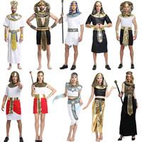 eski kostümler toptan satış-Cadılar bayramı Kostümleri Oğlan Kız Antik Mısır Mısır Firavunu Kleopatra Prens Prenses Kostüm Çocuk Cosplay Giyim Parti Malzemeleri GGA1260