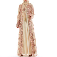 robe musulmane brodée achat en gros de-2018 Abaya Dubai Luxe Haute Classe Paillettes Robe Musulmane Broderie Dentelle Ramadan Kaftan Islam Kimono Femmes Turc Eid Mubarak