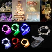 batterie leuchtet großhandel-2 Mt 20 LEDs LED Lampe String CR2032 Taste Batteriebetriebene Led-leuchten Kupferdraht String Licht Weihnachten Halloween Dekoration Hochzeit