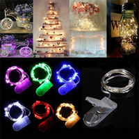 Wholesale round flashing lights - 2M 20LEDs LED Lamp String CR2032 Button Battery Operated LED Lights Copper Wire String Light Christmas Halloween Decoration Wedding Party