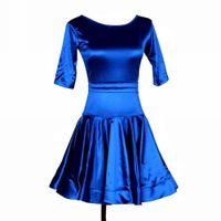 latin-stil kleider großhandel-Latin Dance Dress Damen Mädchen Latin Salsa Dance Competition Kleider Samba Kostüme GÜNSTIGE D0180 Slip Style 1/2 Sleeve Big gekräuselten Saum