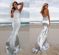 Wholesale silk bohemian black dress - Sexy Silver Beach Mermaid Prom Dresses Boho Bohemian Halter Neck Lace Applique Backless Floor Length Formal Evening Party Wear Custom