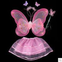 spandex clubwear elbiseleri toptan satış-Çocuk sahne kostümleri sahne kızlar performans oyuncaklar taşıyan melek kelebek kanatları üç parçalı ücretsiz kargo
