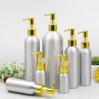 aluminium-flaschenpakete großhandel-Aluminium Lotion Pump Bottle Gold Kappe Metall Zinn Emulsion Container Leere kosmetische Verpackung 30/50/100/120/150/250 / 500ml