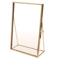 wedding decorations stands UK - Simple Photo Frame Antique Brass Glass Picture Photo Frame Portrait Free Stand Quality Gift for Wedding Friends Home Decoration
