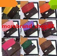 kadınlar için bozuk para toptan satış-Toptan kadınlar lady uzun cüzdan renkli tasarımcı sikke çanta Kart sahibinin kutusu ile kadınlar klasik fermuarlı cebi