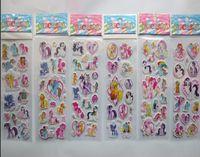schule belohnung aufkleber großhandel-Neue Blase Aufkleber 3D Regenbogen Pony Cartoon Muster Classic Toys Aufkleber 200 Teile / los Kinder Schule Belohnungen Geschenk