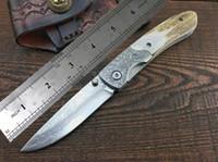 Wholesale Damascus Knife Antler - Classic antler Damascus folding knife VG10 steel Excellent pocket knife Superior sheath