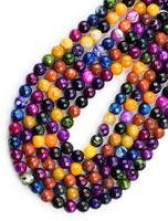facettierte edelsteine großhandel-285 teile / los 4mm Naturstein FACETED AGATE Perlen multicolor Runde halbedel natürliche edelsteine DIY schmuck Machen
