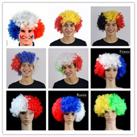 Wholesale Hat World Cup - European Cup World Flags Wigs Fans Party Supplies Explosion Hats Carnival Festival props wholesale free shipping
