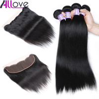 Wholesale natural human hair extensions best resale online - Allove Best A Brazilian Hair Bundles With Closure Straight Bundles with Lace Frontal Closure Peruvian human hair Extensions