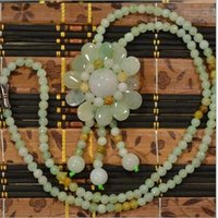 ingrosso 925 collana solare-Catena all'ingrosso del maglione della giada grande pendente selvaggio del sole del fiore branelli della giada Collana di pendente della giada coreana accessori femminili