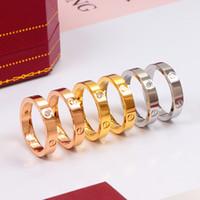 4mm ring großhandel-4mm Titan Stahl Nägel Ringe mit CZ Diamant Liebhaber Band Ringe für Frauen und Männer Marke Schmuck mit Box Set