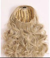perruques de dentelle moitié cheveux vierges achat en gros de-Blonde noire bouclée 3/4 cheveux humains demi perruques 4 couleurs vierge brésilienne machine de cheveux humains faite perruques de dentelle pour les femmes