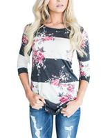 Wholesale ladies striped tees - Floral Print Striped T-shirt Women Three Quarter Sleeve O Neck Dot Casual Tshirt Fashion Female Tee Shirt 2018 Ladies Tops