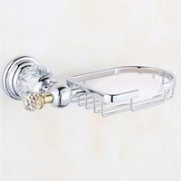 paniers à savon en métal achat en gros de-Vaisselle en laiton à la mode Cristal de luxe en laiton Panier à savon Porte-savon Or Porte-savon Accessoires de salle de bains Quincaillerie pour salle de bains EL7011 En laiton