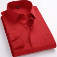 Wholesale formal clothes for sale - 86 Plus XL XL Fashion Men Dress Shirt Business Solid Color Formal Work Clothes Long Sleeve Chest Pocket Men Casual Shirt