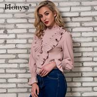white long sleeve chiffon shirt Australia - Women Chiffon Shirt Spring 2018 New Arrivals Flare Long Sleeve Blouses Ladies Turtleneck Loose Ruffle Streetwear Tops White Pink