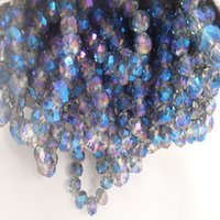 cuenta azul de 4mm al por mayor-145 Beads / 4MM 98 Beads / 6MM 70 Beads / 8MM Blue Light Rondelle Faceted Spacer Crystal Bead para hacer joyas Bricolaje Cristal Cristales