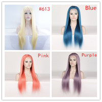blonde lace front baby hair wholesale-Color Lace Front Human Hair Wigs For Black Women Peruvian Wigs Remy Straight Blue Orange Purple Honey Blonde Wigs PrePlucked With Baby Hair
