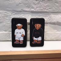 kahverengi deri iphone durumda toptan satış-3 adet / grup Yeni Arival Lüks Kahverengi Ayı Karikatür Telefon Kılıfı Için iphone X 6 7 8 6 S Artı Kapak Deri Cilt Koruyucu Kapak gg
