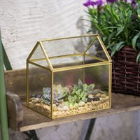 ingrosso piante di piante succulente fiorite-Copper Terrarium House Shape Moss Piante Vaso di fiori in vetro Vittoriano Vintage Planter Serra Piante grasse Terrario geometrico