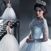 Wholesale white crystal stones wedding dress resale online - 2018 Arabic Long Sleeves Tulle Ball Gown Wedding Dresses Beaded Stones Top Applique Sweep Train Bridal Gowns With Buttons BA8944