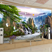 Wholesale Crane Wedding - Chinese Style Landscape Paintings Wall Mural Sunrise Mountain Waterfalls Red-crowned Crane Custom 3D Photo Wallpaper Living Room
