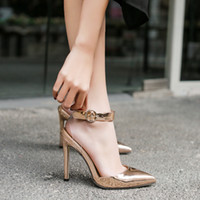Wholesale transparent high heel pointed shoes - High Heel Women Pumps Solid Clear Transparent Piece Stitching High Heels Buckle Strap Femme Fashion Shoes