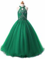 ingrosso fiore aqua verde-Glitz Girls Pageant Dresses Keyhole Back Liste di cristalli Halter Kids Ball Gown Prom Dress Abiti pageant per ragazze Flower Girl Dresses