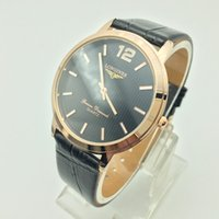 Wholesale Mens Dress Watch Brown Leather - High quality 40mm luxury business men brand AAA leather quartz watch casual analog men dress watch wholesale hot sale mens clocks gift saati