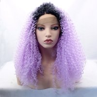 Wholesale Dark Purple Wigs - Light Putple Long Ombre Kinky Curly Wigs for Black Women Cosplay Synthetic Lace Front Wig Heat Resistant Wigs Dark Root Purple Ombre Hair
