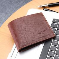 Wholesale leather bifold money clip wallet - Men's PU Leather Wallet Flipout ID Wallet Bifold Coin Purse Card Holder RFID Money Clip Male Clutch W055