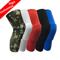 Wholesale padded knee pads - 2018 Brand safety basketball knee pads for Adult Antislip honeycomb pad Leg knee support calf compression kneecap cycling knee protector R09