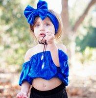 Wholesale Toddler High Waist Shorts - 2018 Summer baby girls pleuche T-shirts toddler slash neck velvet tops+Bows headbands 2pcs sets kids dew shoulder high waist Tees R2584