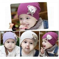 tığ bebeği ayı şapkası toptan satış-1 Adet Sevimli Kış Sonbahar Yenidoğan Tığ sıcak Pamuk Bebek bere Şapka Kız Erkek Kap Çocuk Unisex Ayı Bebek T244