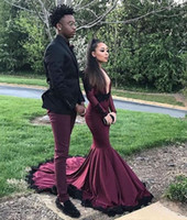 Wholesale White Plus Size Formal Dresses - 2018 sexy plus size long sleeves black girl african prom dresses mermaid black evening formal gowns long length abendkleider