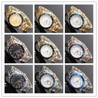 Wholesale black male models fashion - 44mm high quality watch casual Fashion male model Designer watches men luxury brand big Dial gold face silver Stainless steel quartz clock